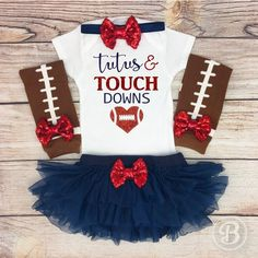 Tutus and Touchdowns Baby Girl Football Outfit, Baby Girl Football Bodysuit, Navy Blue and Red Baby Girl Football Clothes The PERFECT outfit for your little sports fan! This is a MUST for game day, and always a HUGE hit at every baby shower! Football Tutu, Football Girls, Football Outfits, Little Sport, Tutus For Girls, Baby Girls, Future Daughter, Chiffon Ruffle, Baby Outfits
