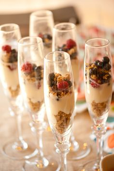 Yogurt, fruit & granola parfaits -- a nice, healthy treat for your maids while you're getting ready.