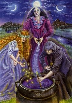 Double, double toil and trouble. Fire burn and cauldron bubble.  Macbeths three witches reminds me of Pin with Cauldron cooking outside.