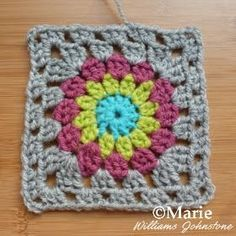 Completed granny square sunburst pattern with full photo and text tutorial to follow