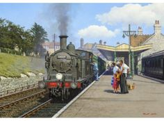Steam Malcolm RootSwanage Summer - Fantastic image capturing Swanage Steam at it s finest! Southern Trains, Transport Pictures, Uk Rail, Train Illustration, Heritage Railway, Train Posters, Disused Stations, Steam Railway, Train Art