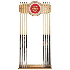 Wood Wall Pool Cue Rack Fire Fighter Holds 8 Billiard Table Recreation Game Room #TrademarkGameroom