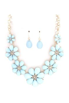 Pastel blue flower necklace and earrings