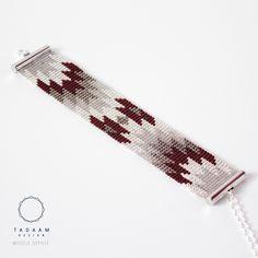 IDÉE CADEAU NOËL Bracelet tissé en perles miyuki / Perles argentées en plaquées Argent 925 / MARSALA TAUPE ARGENT : Bracelet par tadaam-bijoux