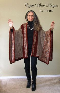 Crochet Ruana Blanket Poncho PATTERN / door CrystalBearDesigns