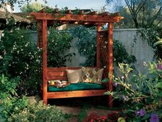 Arbor and Trellis Ideas for your Garden Create a cozy spot to relax in your garden with this DIY arbor with bench!Create a cozy spot to relax in your garden with this DIY arbor with bench! Small Garden Arbour, Diy Arbour, Garden Arbor, Small Garden With Bench, Garden Bench Plans, Pergola Plans, Diy Pergola, Pergola Shade, Garden Benches
