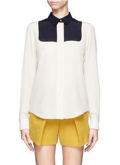 CHLOÉ - Colour-block bib silk shirt - on SALE | White Blouses/Shirts Tops | Womenswear | Lane Crawford