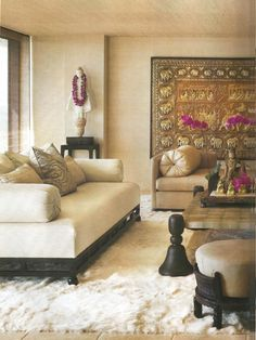 """In her latest home, perched high above Los Angeles, Cher sought the help of friend and interior designer Martyn Lawrence-Bullard to create a sanctuary that is """"ethnic, spicy, and romantic."""" And ANICHINI is found throughout, from the embroidered silk pillows and silk and cashmere throw in the living room to the embroidered silk pillows and embroidered coverlet in the bedroom."""