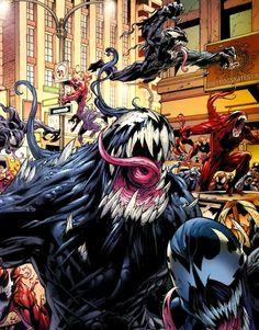 Venom, Carnage, Anti-Venom symbiote, Eddie Brock & Cassidy Williams.