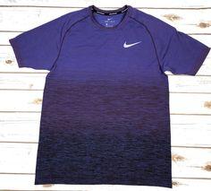 7e48ce68fae3 Nike Dri Fit SS Running Shirt Purple Silver Size M Mens 886301 609 MSRP  80  NWT