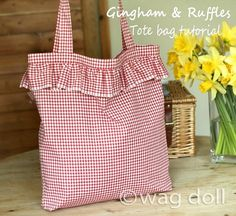 Gingham and Ruffles - Easy Tote Bag Tutorial by Wag Doll. Love love love this sweet bag! Shop at Stylizio for womens and mens designer handbags luxury sunglasses watches jewelry purses wallets clothes underwear more! Summer Tote Bags, Diy Tote Bag, Ruffles Bag, Ruffle Skirt, Sweet Bags, Purse Patterns, Tote Pattern, Wallet Pattern, Sewing Patterns