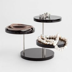 This black jewellery display has 3 x 79 mm platforms which are perfect for watches, bracelets and rings. The platforms can be turned for your convenience. Jewellery Displays, Bracelet Display, Black Jewelry, Platforms, Centre, Shop, Store