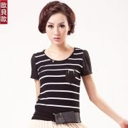2012 summer new horizontal stripes pocket decorated women's short-sleeved T-shirt