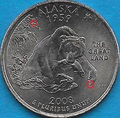 2008 P - ALASKA STATE QUARTER ERROR COIN - REV  6 CLAW + CHIP IN TWIG