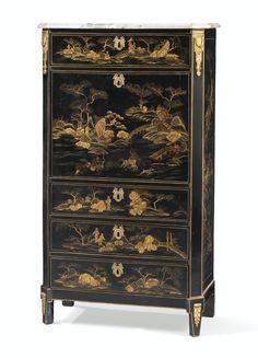Secrétaire à abattant en vernis parisien d'époque Louis XVI, estampillé <em>L. FOUREAU</em> et <em>JME</em> | lot | Sotheby's