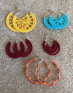 Gold Hoop Earrings Like Jlo my Joyalukkas Jewellery Online. Mini Gold Hoop Earrings her Silver Hoop Earrings With Stud Back. Large Diamond Hoop Earrings Inside Out Crochet Jewelry Patterns, Crochet Earrings Pattern, Crochet Accessories, Minimalist Earrings, Crochet Projects, Creations, Knitting, Hoop Earrings, Silver Earrings