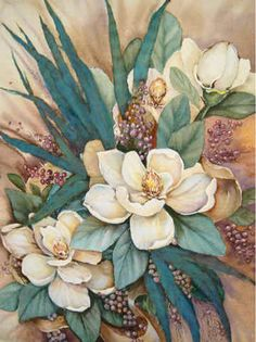 Southern Magnolias II by Jamie Carter ~ floral