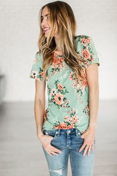 Mindy Mae's Market Poppy Tee in Mint.  Florals for Spring.. this tee is everything your floral loving heart needs. It's buttery soft and total cute. Prepare for the compliments! Also available in Blush! 2017 Fashion #sponsored