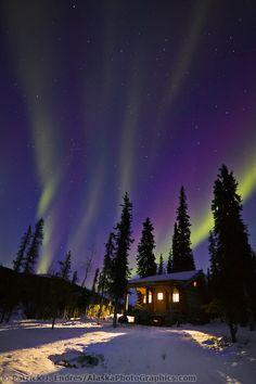 Aurora borealis arcs over Windy Gap log cabin in the White Mountains National Recreation Area, interior, Alaska