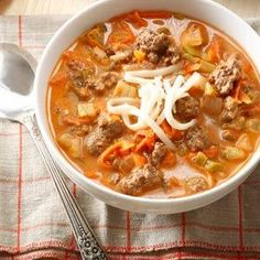 Stuffed Sweet Pepper Soup Recipe from Taste of Home