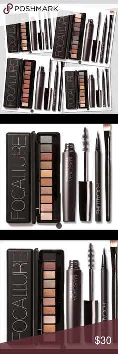 🌹Focallure 4pcs Pro Makeup Kit🌹 What's included in this kit: 1.1Pc Eyeliner Pen 2.1Pcs 10 Colors Warm Nude Eye Shadow 3.1Pc Black Volume Mascara 4.1Pc Eyeshadow Brush Detail: FOCALLURE 4Pcs Cosmetics Kit Makeup Eyeshadow
