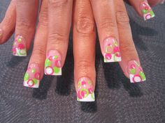 White french manicure tips with pink and green straw circles free hand -  Nail Art Gallery