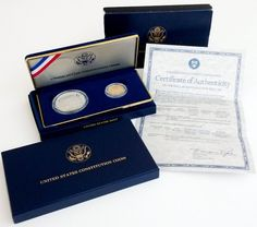 1987 US Constitution Coins Proof Set Silver Dollar & Gold Five Dollar with COA