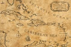 An antique nautical chart of the Caribbean Islands. Features old island names as used on the maps of English captains (e., Porto Rico instead of Puerto Rico. Vintage Nautical, Vintage Maps, Antique Maps, Pirate Treasure Maps, Pirate Maps, Caribbean Tattoo, Caribbean Sea, Pirate Map Tattoo, Architecture Sketches