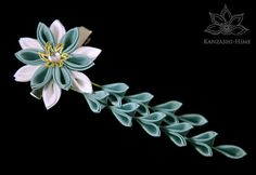 Duck Egg Blue / Green and White Alligator Clip by KanzashiHime