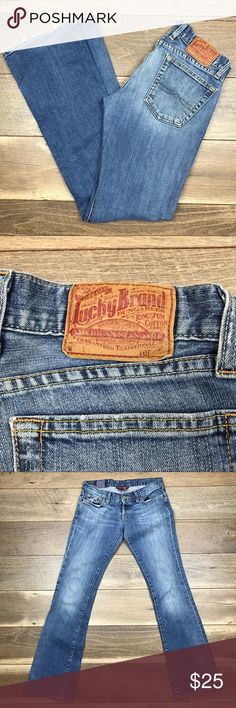 Luck Brand Jeans By Gene Montesano Luck Brand Jeans By Gene Montesano. Reg. Inseam. Bottom edge is hem are worn. Overall Jeans are in good condition. Lucky Brand Jeans Flare & Wide Leg