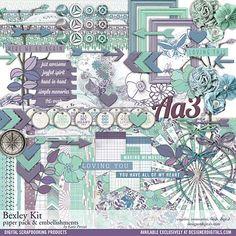 Bexley Scrapbooking Kit - Digital Scrapbooking Kits DesignerDigitals #purple #mintgreen
