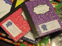 2012-2013 goodie bags included mini composition note books complete with a congratulations box tops sticker.