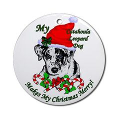 Catahoula Leopard Dog Christmas Ornament Round Pets Round Ornament by CafePress. The Catahoula Leopard Dog is adorable on this original design. Great Christmas gifts for catahoula lovers on a variety of Holiday merchandise. Pets Round Ornament Instantly accessorize bare wall-space with our Round Ornament. Makes great room or office accessories, fun favors for birthday parties, wedding or baby shower Ornaments, or adding a unique, special touch to gift-wrapped packages. Comes with its own…