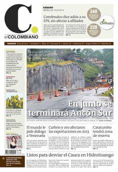 Portada de El Colombiano el sábado 15 de febrero de 2014.