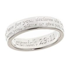 So pretty!! Favorite verse.  Scripture Ring-Jeremiah 29:11 | Cornerstone Jewelry