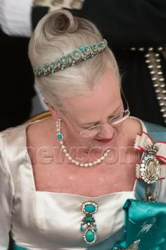 Queen Margrethe II of Denmark wearing the Turquoise Daisy Bandeau Tiara - has been lent to her Niece Princess Theodora of Greece