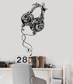 Vinyl Wall Decal Headphones Teen Room Music Pattern Boys Stickers (ig2931)