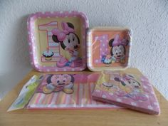 Disney Baby Minnie 1yr old Plates, Napkins & Tablecloth