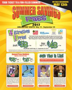 2017 Summer Savings Pass  Lion County  Miami Seaquarium  Museum of Disc and Sci  Zoo Miami/Water Play Area