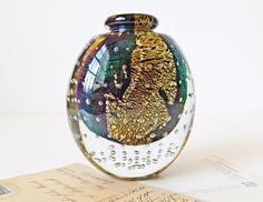 Vintage Robert Eickholt Dichroic Hand Blown Glass Perfume Bottle, Signed &…