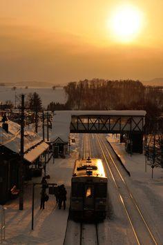Winter sunset in Biei Station, Hokkaido, Japan