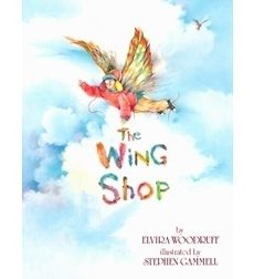 The Wing Shop by Elvira Woodruff, illus Stephen Gammell After his family moves to a different part of town, Matthew tries to get back to his old house by trying on different pairs of wings in an unusual wing shop.