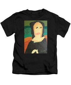 Patrick Francis Designer Kids Black T-Shirt featuring the painting Mona Lisa - After Leonardo Da Vinci by Patrick Francis