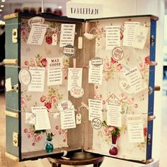 vintage suitcase wedding table plan via @EightTree Street  www.themodernjewishwedding.com