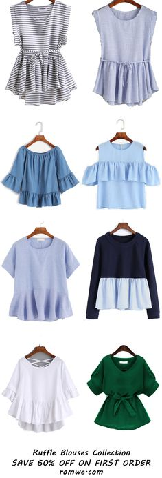 Cute Ruffle Blouses - love the style of the top two and the green one Look Fashion, Diy Fashion, Fashion Outfits, Womens Fashion, Fashion Design, Fashion Trends, Casual Wear, Casual Outfits, Summer Outfits