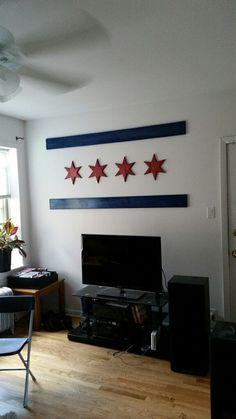 Wooden Chicago Flag on Etsy, $175.00