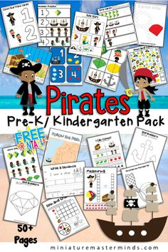 Pirate Themed Preschool and Kindergarten Educational Worksheet and Activity Pack. Free Printable for Kindergarten and Preschool for Literacy and Math Centers Preschool Pirate Theme, Pirate Activities, Summer Themes For Preschool, Preschool Printables, Preschool Activities, Pirate Day, Pirate Birthday, Kindergarten Themes, Kindergarten Readiness