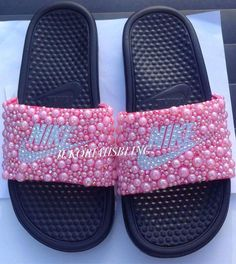 Bling nike slides nike shoes accessories by Jukoriahsbling on Etsy Bedazzled Shoes, Bling Shoes, Nike Sandals, Nike Shoes, Heeled Boots, Shoe Boots, Bling Flip Flops, Nike Slippers, Fashion Slippers
