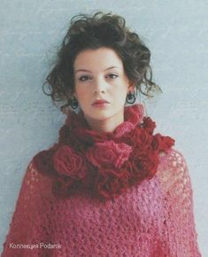 crocheted rolled rose scarf with instructions on following page