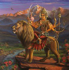 Navratri Puja will help you overcome all your negativities. Flourish with wealth on this Navratri by offering Homam to Lakshmi, Saraswathi & Durga. Kali Goddess, Mother Goddess, Divine Mother, Durga Painting, Tanjore Painting, Durga Images, Lord Shiva Family, Durga Maa, Shiva Shakti